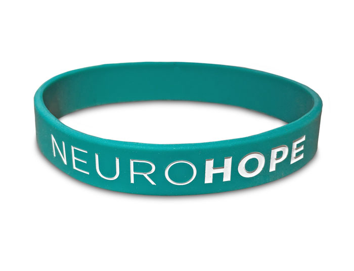 nuero wristband with bold lettering of word hope