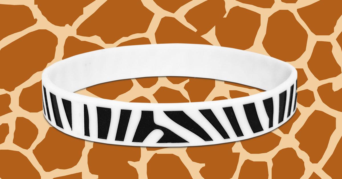 zebra print wristband on giraffe animal print