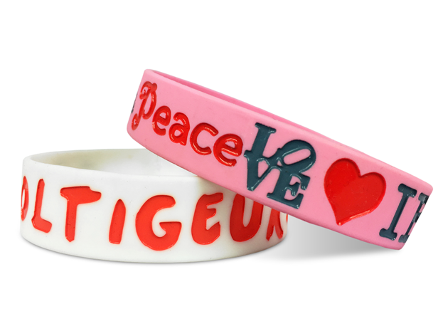 wide silicone wristbands in pink and white