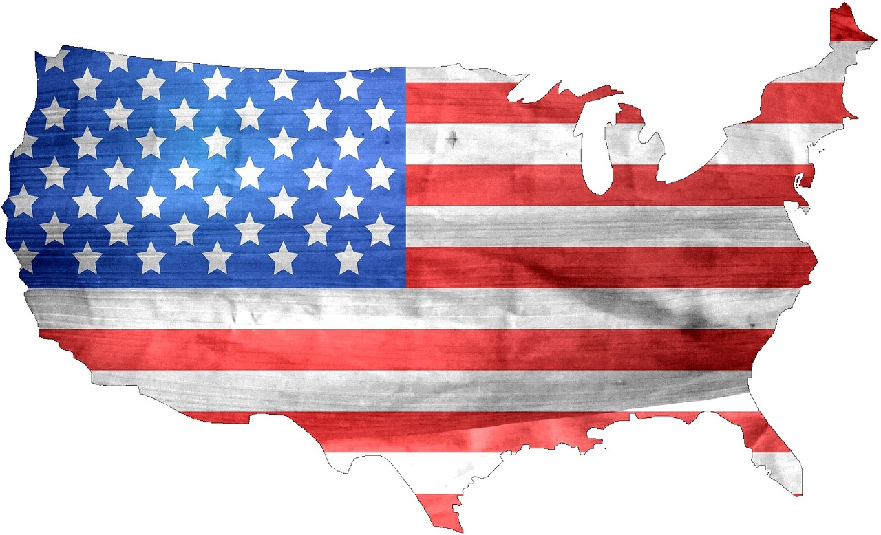 the american flag country drapped over the lower 48 states
