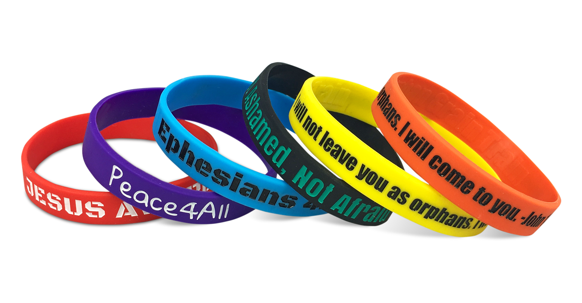 faith wristbands on white background
