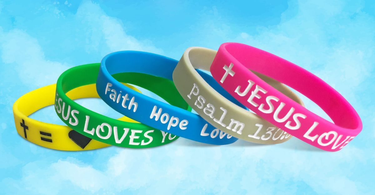 faith wristbands set on a sky background