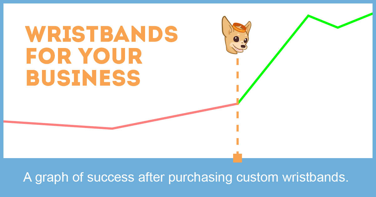 Success chart for small business after purchasing custom wristbands.