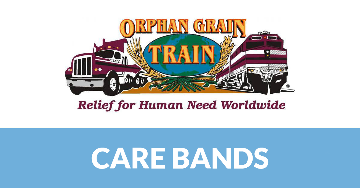Orphan Grain Train logo with trucks and the words Care Bands